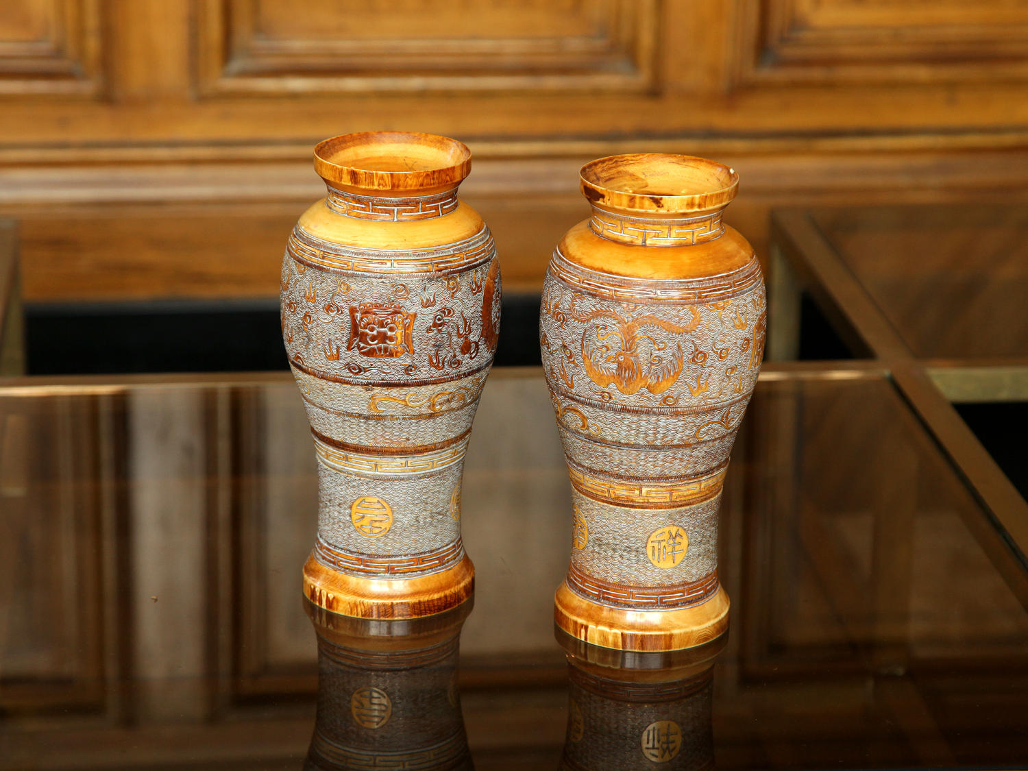 Pair of Qing Dynasty carved Ivory vases