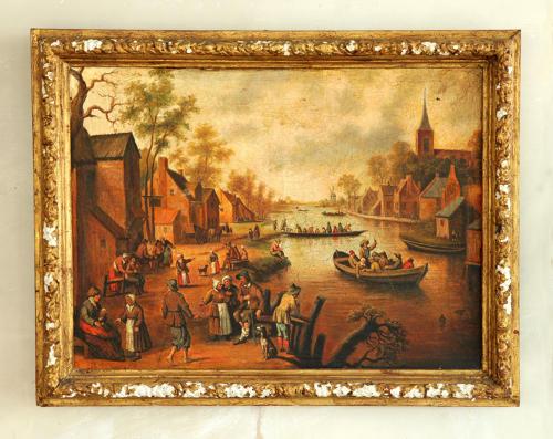 Canal scene after Pieter Breugel