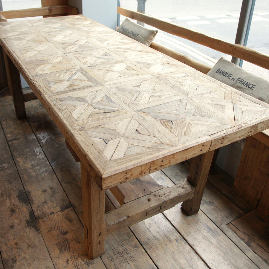 French Oak Parquetry top Rustic Dining table C 1830