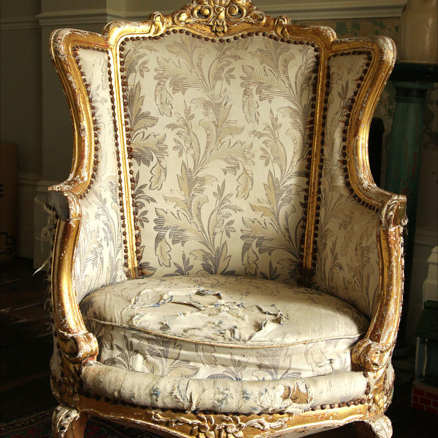 A French Louis XV style Giltwood Fauteuil armchair C 1900