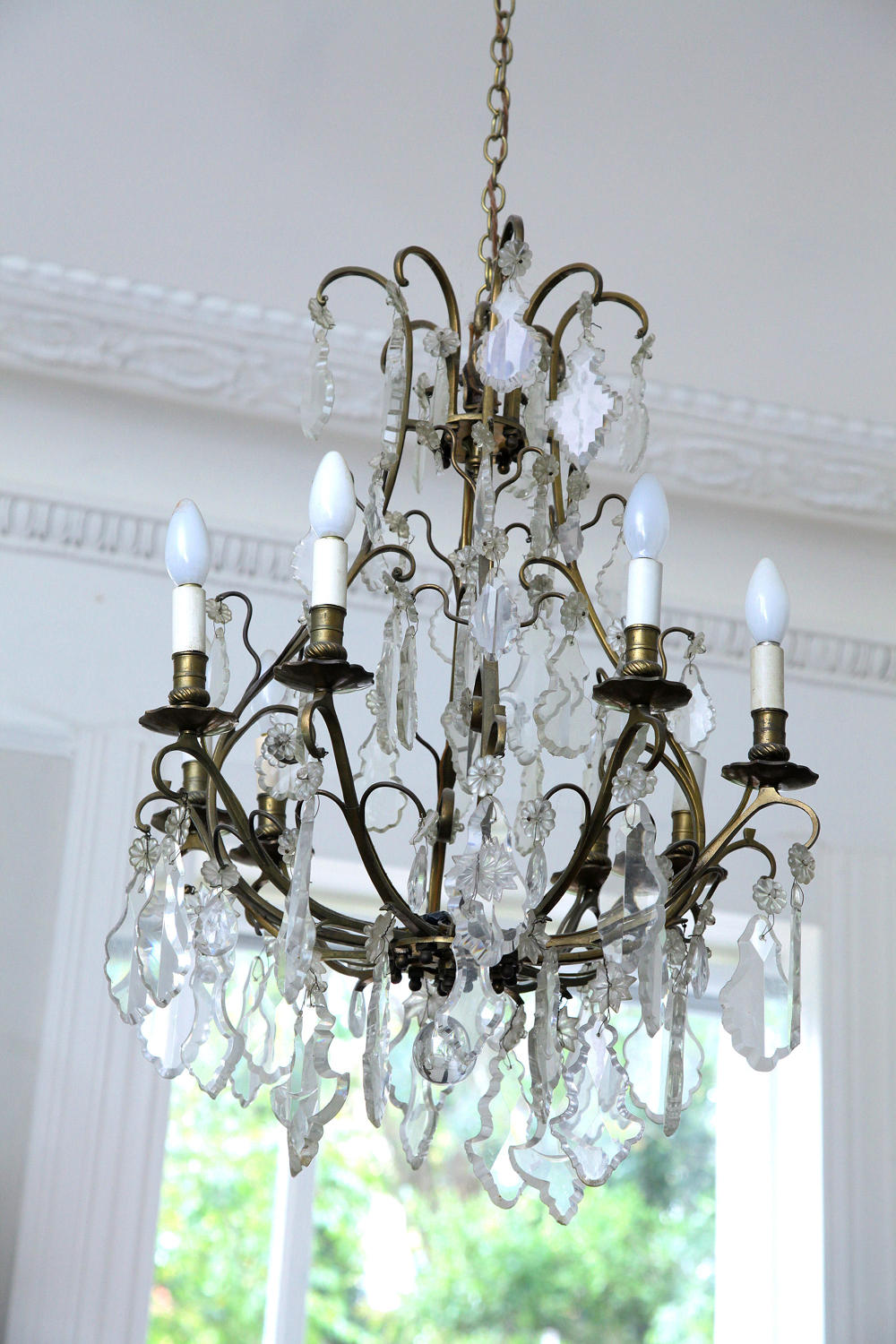Large Cut Glass Pampilles Chandelier