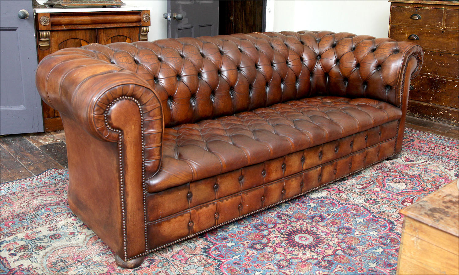 Antique deep buttoned Leather chesterfield