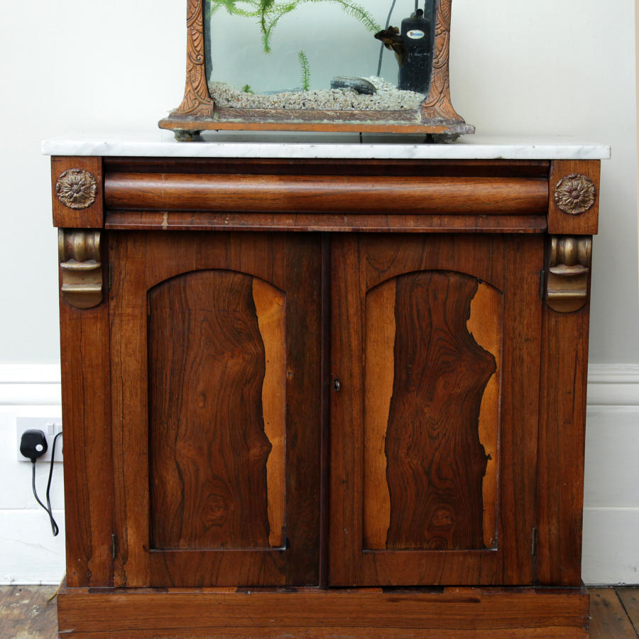 George IV Rosewood Chiffonier with Carrara marble top.