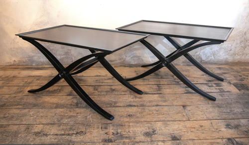 A pair of Ebonised Regency style X frame Side tables