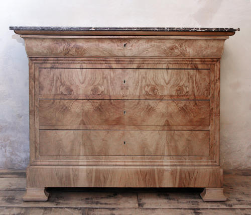 A Louis Phillippe Bleached figured Walnut Commode C1840