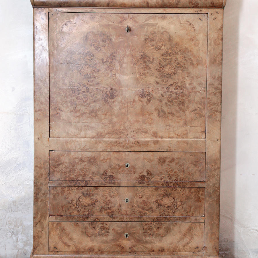 A Louis Phillipe Bleached Walnut  Secretaire a Abattant  C 1840