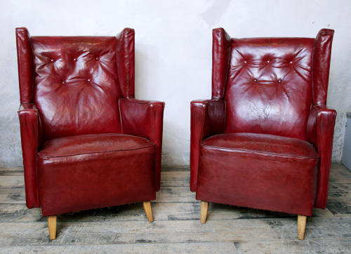Pair of French 1950's Mid Century Red Leather Armchairs