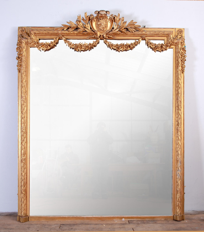 Large English Overmantel Giltwood Mirror