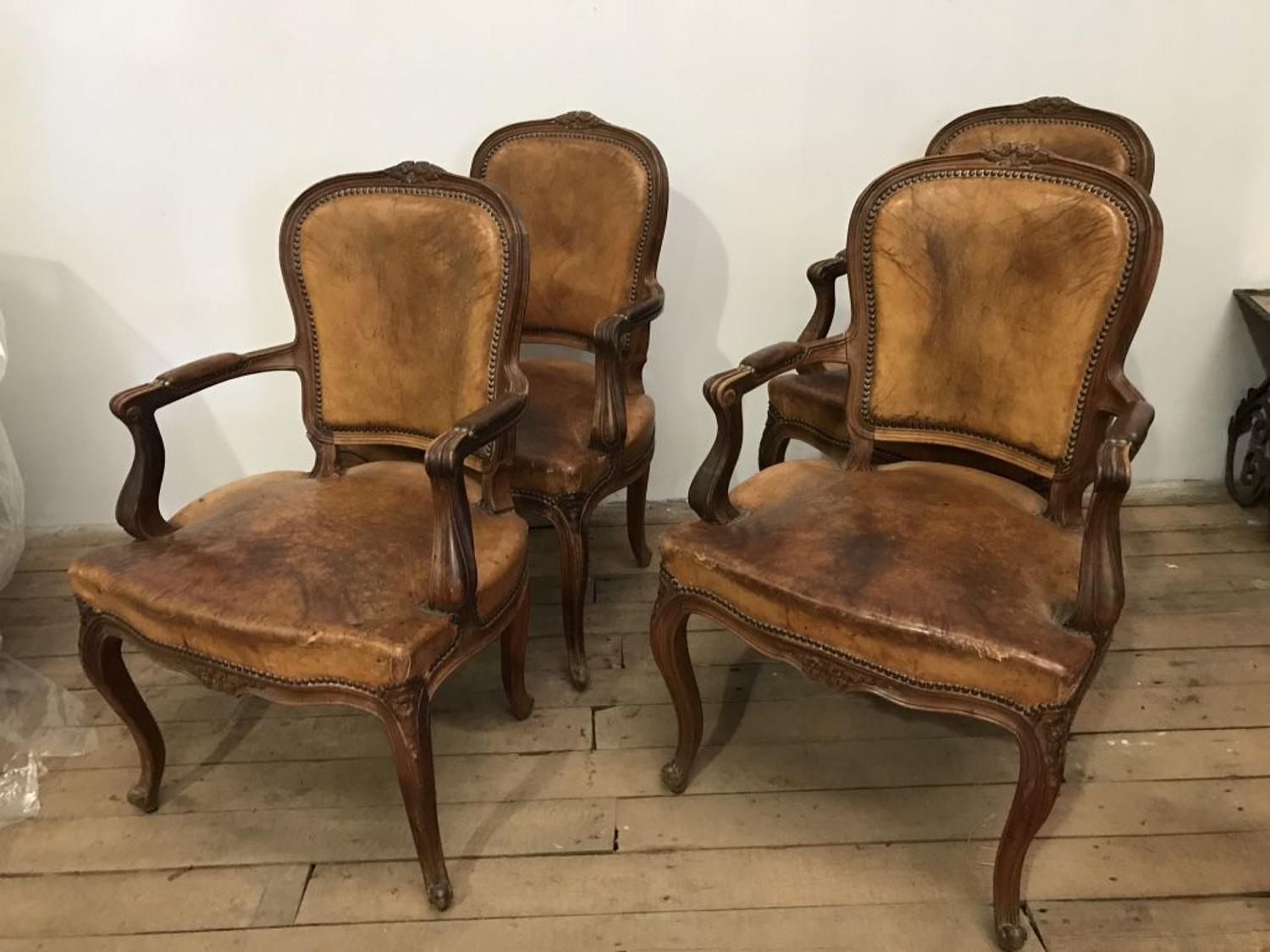 Set Of Four 19th C Spanish Olivewood Fauteuils Upholstered In Chestnut
